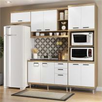 Cozinha Compacta Completa Multimóveis com 4 peças Sicília 5828 Argila/Branco -