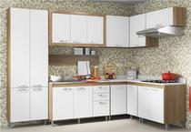 Cozinha Compacta Completa Multimóveis Toscana 5714-BR Argila/Branco com Balcão para piá - 16 Portas e 03 Gavetas -