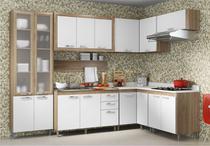 Cozinha Compacta Completa Multimóveis Toscana 5714-BRVD Argila/Branco com Balcão para piá e Paneleiro de vidro- 16 Portas e 03 Gavetas -