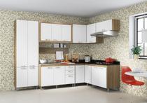 Cozinha Compacta Completa Multimóveis Toscana 5714-PR Argila/Branco com Balcão para piá - 16 Portas e 03 Gavetas -