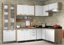 Cozinha Compacta Completa Multimóveis Toscana 5714-PRVD Argila/Branco com Balcão para piá e Paneleiro de vidro- 16 Portas e 03 Gavetas -
