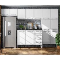 Cozinha Compacta de Aço com Balcão 2 portas,Paneleiro e 2 Armários Aéreos Evidence Bertolini Branco -