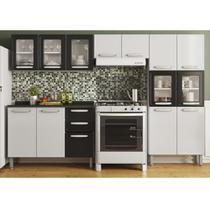Cozinha Compacta de Aço com Balcão 3 portas 2 gavetas,Paneleiro Vidro Temperado e 2 Armários Aéreos Evidence Bertolini Branco/Preto -
