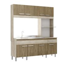 Cozinha Compacta Decibal Móveis 8 Portas 1 Gaveta Malbec/Wood -