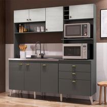 Cozinha Compacta Donna Casamia 8 Portas 2 Gavetas Grafite Touch/Snow -