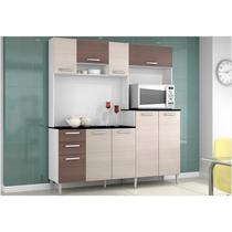 Cozinha Compacta Gisele Amêndoa com Capuccino - Poquema -