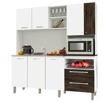 Cozinha Compacta Jade para Pia 7 Portas Branco/White/Petróleo - Kits Paraná -