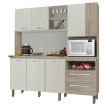Cozinha Compacta Jade para Pia 7 Portas Nogal/Arena - Kits Paraná -