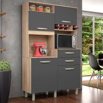 Cozinha Compacta Júnior 4 PT 2 GV Cedro e Grafite - Móveis Nesher