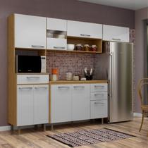 Cozinha Compacta Luma 4 Peças com Balcão e Tampo Espresso Móveis Saara/Branco -