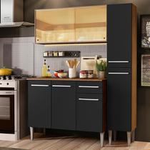 Cozinha Compacta Madesa Emilly Gold com Armário, Balcão e Paneleiro - Rustic/Preto -
