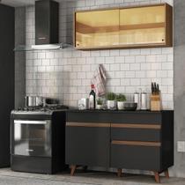 Cozinha Compacta Madesa Reims 120001 com Armário e Balcão - Preto -