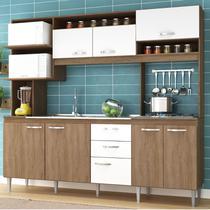 Cozinha Compacta Marilia Armário 08 Portas 02 Gavetas Amêndoa/Branco - MegaSul - IRM