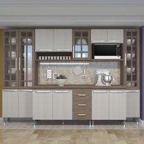 Cozinha Compacta MDF/MDP Carla 6 Peças 15 Portas 3 Gavetas Nogal/Salinas - Megacasa -