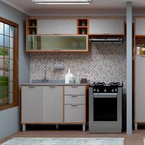 Cozinha Compacta Modulada 3 Peças com Vidro Reflecta, Armários e Balcão de Pia Petra Luciane Móveis - Kit