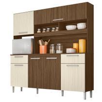 Cozinha Compacta Moval Olinda 6 Portas Castanho Nogueira -
