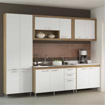 Cozinha Compacta Multimóveis Toscana 5710-BR Argila/Branco com Balcão para piá - 12 Portas e 03 Gavetas -