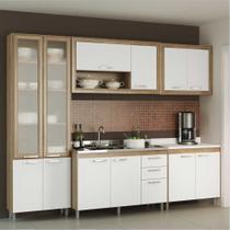 Cozinha Compacta Multimóveis Toscana 5710-BRVD Argila/Branco com Balcão para piá e paneleiro de vidro - 12 Portas e 03 Gavetas -