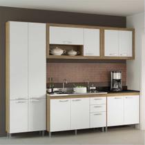 Cozinha Compacta Multimóveis Toscana 5710-PT Argila/Branco com Balcão para piá - 12 Portas e 03 Gavetas -