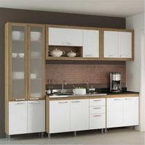 Cozinha Compacta Multimóveis Toscana 5710-PTVD Argila/Branco com Balcão para piá e paneleiro de vidro - 12 Portas e 03 Gavetas -