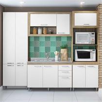 Cozinha Compacta Multimóveis Toscana 5712 Argila/Branco com Balcão para piá e 2 paneleiros - 11 Portas e 03 Gavetas -