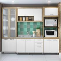 Cozinha Compacta Multimóveis Toscana 5712-VD Argila/Branco com Balcão para piá e 1 paneleiro de vidro e a torre quente - 11 Portas e 03 Gavetas -