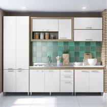 Cozinha Compacta Multimóveis Toscana 5718 -BR Argila/Branco com Balcão para piá - 12 Portas e 03 Gavetas -