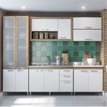 Cozinha Compacta Multimóveis Toscana 5718 -BRVD Argila/Branco com Balcão para piá e paneleiro de Vidro - 12 Portas e 03 Gavetas -