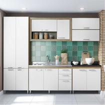 Cozinha Compacta Multimóveis Toscana 5718 -PT Argila/Branco com Balcão para piá - 12 Portas e 03 Gavetas -