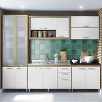 Cozinha Compacta Multimóveis Toscana 5718 -PTVD Argila/Branco com Balcão para piá e paneleiro de Vidro - 12 Portas e 03 Gavetas -