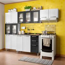 Cozinha Compacta Multipla 14 PT 2 GV Branco e Preto - Bertolini