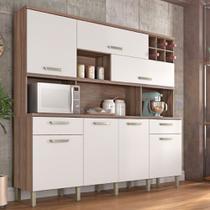 Cozinha Compacta Nesher Master 7 Portas 2 Gavetas e Adega - Nogueira/Branco -