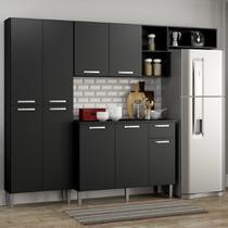 Cozinha Compacta Pequim 9 Portas MP2933 Multimóveis Preto -
