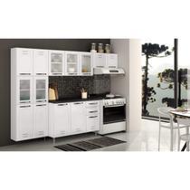Cozinha Compacta Pérola 3 Peças 5 Portas de Vidro e Balcão com Tampo Telasul Branco/Preto -