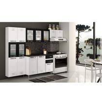 Cozinha Compacta Pérola 3 Peças 5 Portas de Vidro e Balcão com Tampo Telasul Branco -