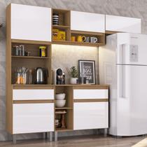 Cozinha Compacta Pimenta 5 Portas 2 Gavetas Naturalle/branco - Decibal Móveis -