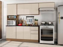 Cozinha Compacta Poliman Móveis Paris J75030 - com Balcão Nicho para Micro-ondas 9 Portas