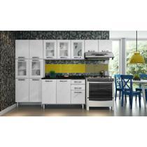 Cozinha Compacta Safira em Aço 4 Peças com 5 vidros 14 Portas e 2 Gavetas Telasul -