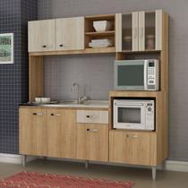 Cozinha Compacta sem Pia e Tampo 8 Portas 1 Gaveta Tati Fellicci Carvalho/Blanche -