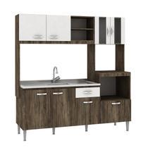 Cozinha Compacta sem Pia e Tampo 8 Portas 1 Gaveta Tati Fellicci Naturalle/Branco -