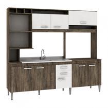 Cozinha Compacta sem Pia e Tampo 8 Portas 2 Gavetas Helen Fellicci Naturalle/Branco -