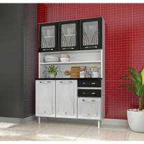 Cozinha Compacta Star em Aço 6 Portas com Vidros 2 Gavetas com Tampo Telasul -