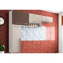 Cozinha Compacta Suspensa Anita 05 Portas Amêndoa/Capuccino - Poquema -