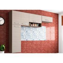Cozinha Compacta Suspensa Anita 05 Portas Capuccino/Amêndoa - Poquema -