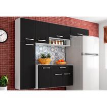 Cozinha Compacta Suspensa com Balcão Anita 08 Portas Preto - Poquema -