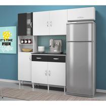 Cozinha Compacta Tallita com Balcão Branco Tx Preto Tx Movemax -