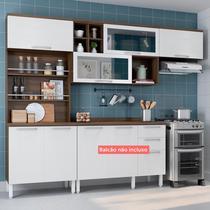 Cozinha Compacta Thela Alecrim 3 Peças com Paneleiro Porta-Temperos Nogueira/Branco -