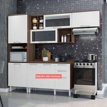 Cozinha Compacta Thela Alecrim 3 Peças Nogueira/Branco -