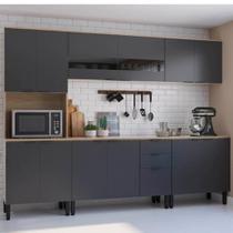 Cozinha Compacta Thela Anis 3 Peças Aveiro/Grafite -