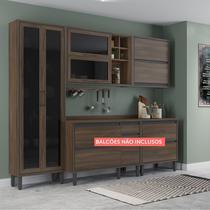 Cozinha Compacta Thela Canela 3 Peças com cristaleira Nogueira -